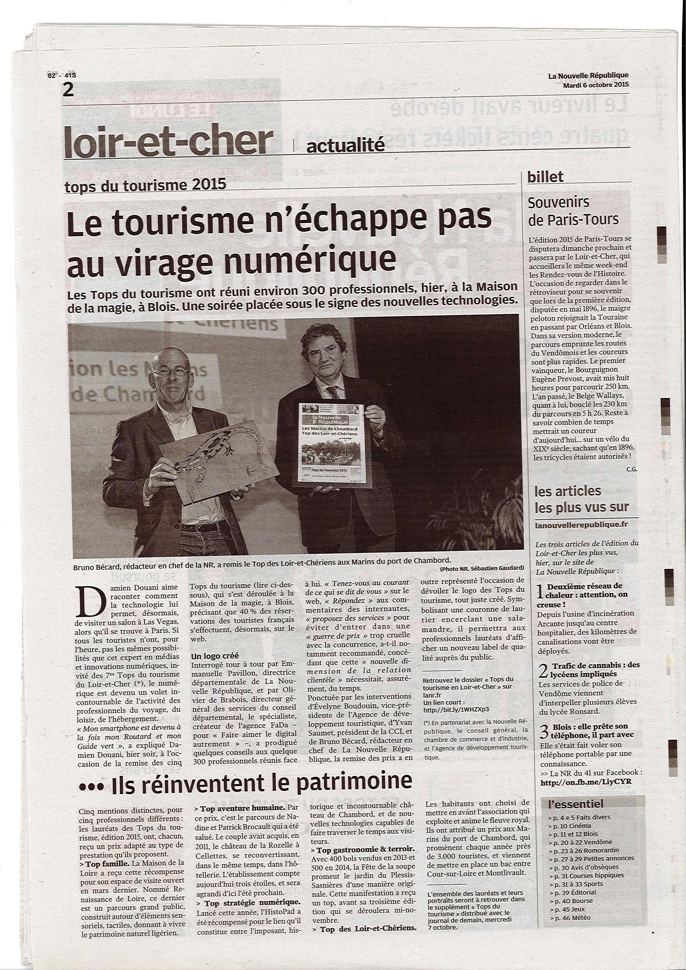 article NR - Top tourisme 2015 - Maison de la Loire du Loir et Cher